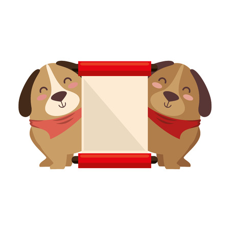 cute dogs with banner vector illustration design Фото со стока - 95108603