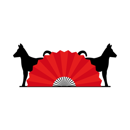 Chinese fan with dog silhouette vector illustration design