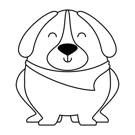 cute dog with scarf vector illustration design Imagens - 95301417
