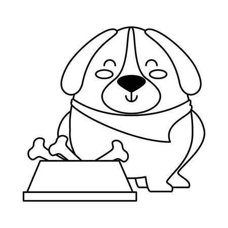 cute dog with dish and bones vector illustration design