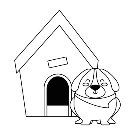 A cute dog with wooden house vector illustration design