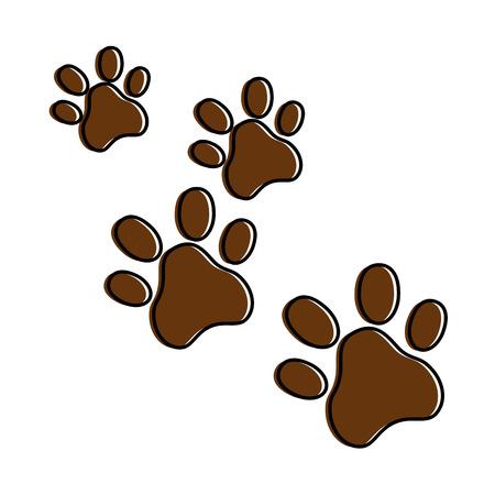 犬の足跡孤立したアイコンベクトルイラストデザイン