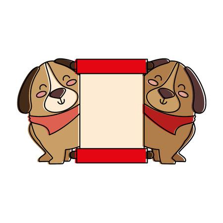 cute dogs with banner vector illustration design Banco de Imagens - 95062001