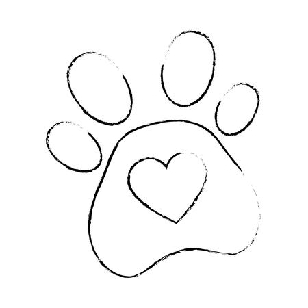 心臓ベクトルイラストデザインの犬の足跡