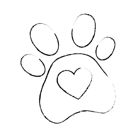 dog footprint with heart vector illustration design Çizim