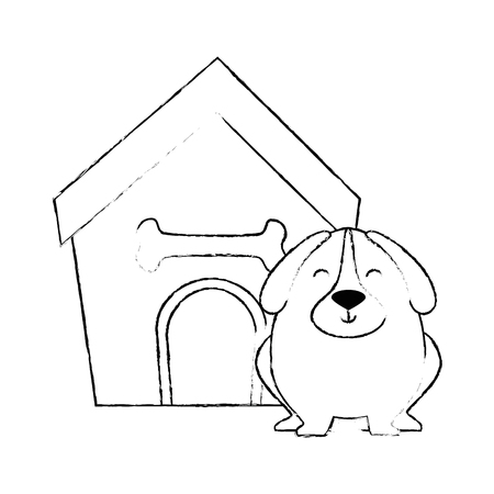 cute dog with wooden house vector illustration design Фото со стока - 95301428