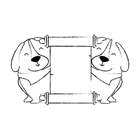cute dogs with banner vector illustration design Banco de Imagens - 95301429