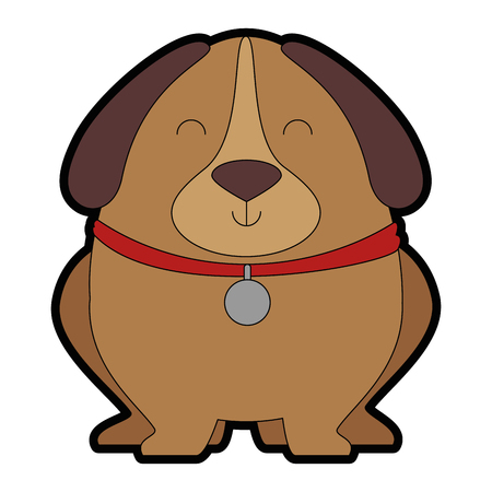 cute dog with necklace vector illustration design