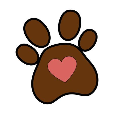 Hund Fußabdruck mit Herz Vektor-Illustration Design Standard-Bild - 95062745