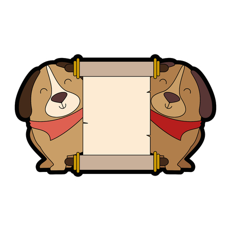 cute dogs with banner vector illustration design