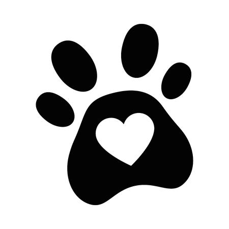 dog footprint with heart vector illustration design Stock Vector - 95062850