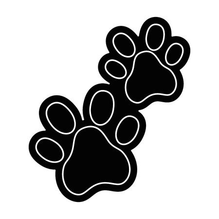 Honden voetafdrukken geïsoleerd pictogram vector illustratie ontwerp Stock Illustratie