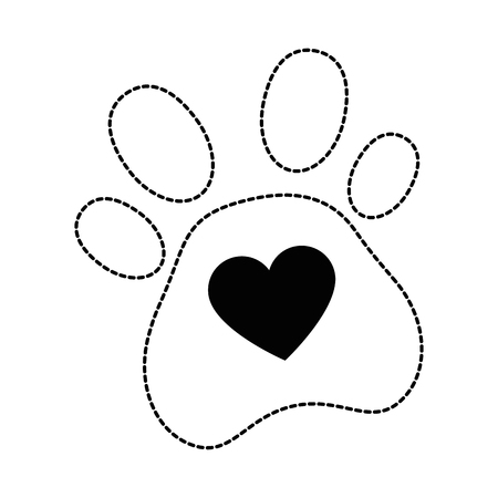 dog footprint with heart vector illustration design Ilustração