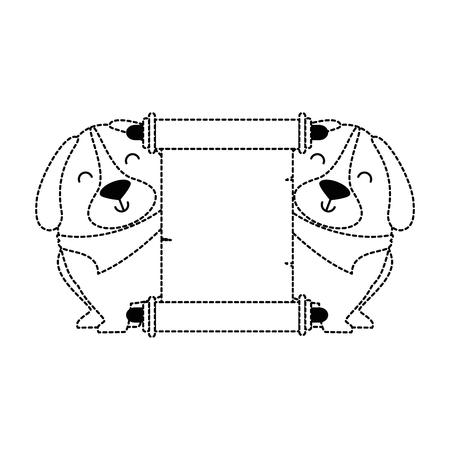 cute dogs with banner vector illustration design Banco de Imagens - 95063030