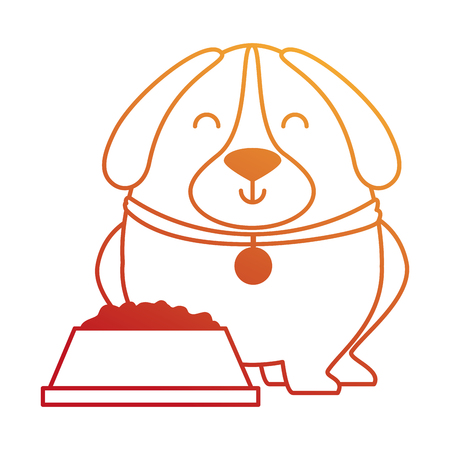 cute dog with dish food vector illustration design Фото со стока - 95301446