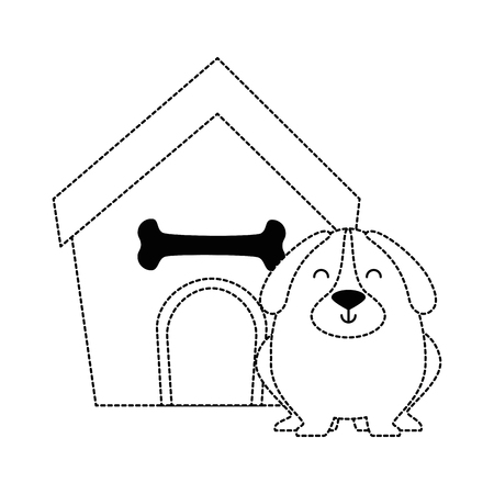 Cute dog with wooden house dotted illustration design Stock Illustratie