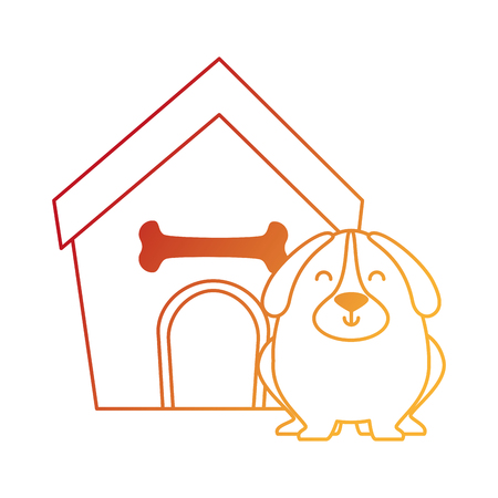 Cute dog with wooden house vector illustration design.