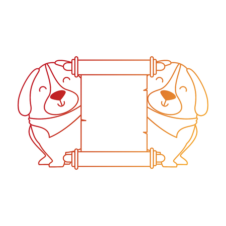 Cute dogs with banner vector illustration design.