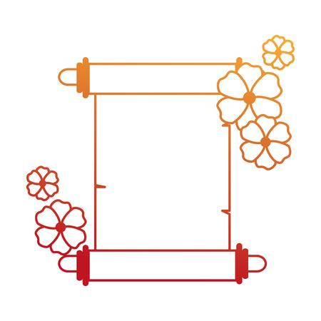 花のベクターイラストデザインと中国のパピルス。