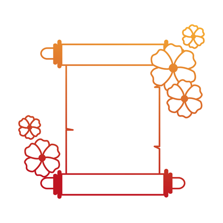 Chinese papyrus with flowers vector illustration design.