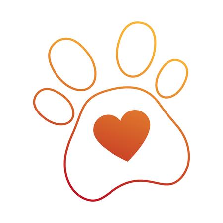 心臓ベクトルイラストデザインの犬の足跡。