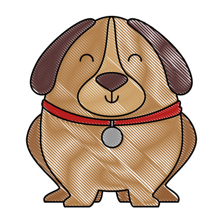 Cute dog with necklace vector illustration design. Çizim