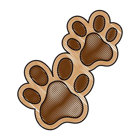 犬の足跡孤立したアイコンベクトルイラストのデザイン。