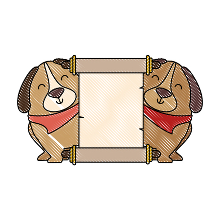 A cute dogs with banner vector illustration design Banco de Imagens - 95065536