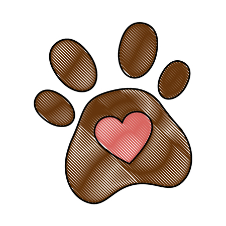 A dog footprint with heart vector illustration design Illustration