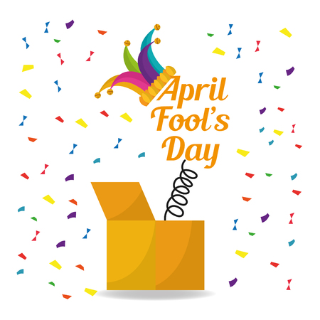 april fools day surprise box with jester hat confetti decoration vector illustration