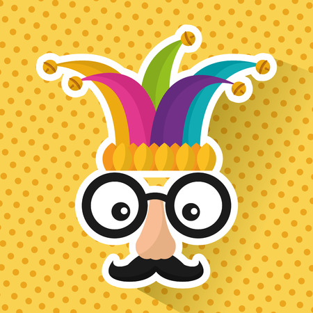funny face glasses mustache and jester hat vector illustration Stok Fotoğraf - 95108739
