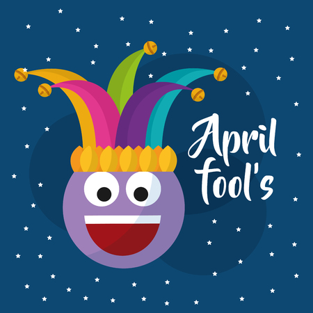 april fools day smile emoticon jester hat dots blue background vector illustration 向量圖像
