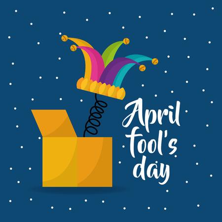 jester hat april fools day dots background vector illustration