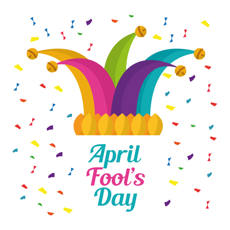 april fools day cap with bells jester festive confetti vector illustration