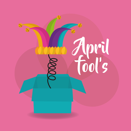 april fools day card box hat bells pink background vector illustration