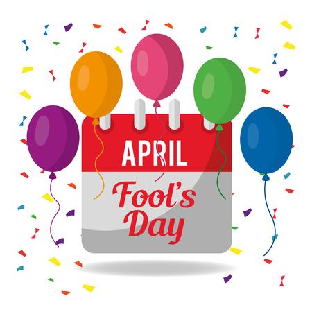 april fools day festive celebration calendar balloons confetti vector illustration  イラスト・ベクター素材