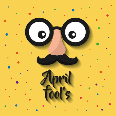 april fools cartoon face with funny glasses and mustache vector illustration Ilustrace