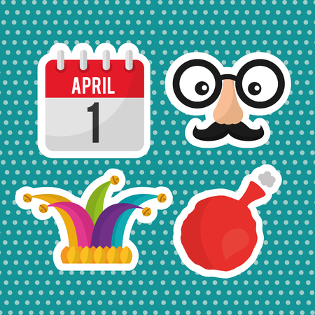 april fools day collection decoration icons vector illustration