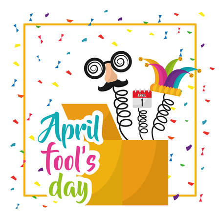 April fools day box prank hat face calendar confetti vector illustration