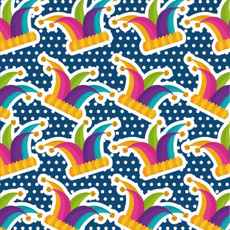 Multicolor jester hat bells dots blue background vector illustration