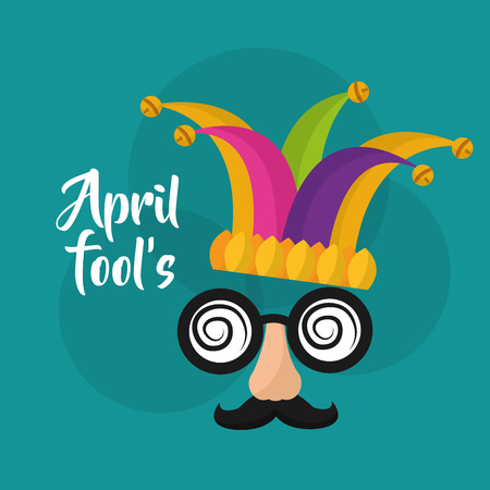 April fools mask mustache silly glasses and hat vector illustration