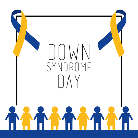 down syndrome day card invitation people together vector illustration