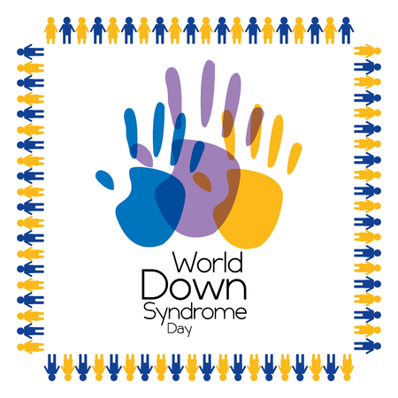 world down syndrome day painted palm hands poster vector illustration Stock Illustratie