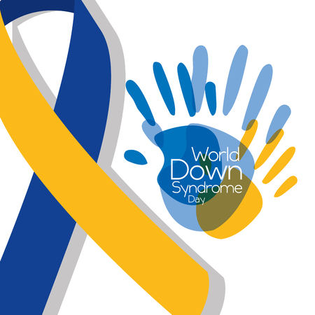 world down syndrome day painted hands big ribbon symbol vector illustration