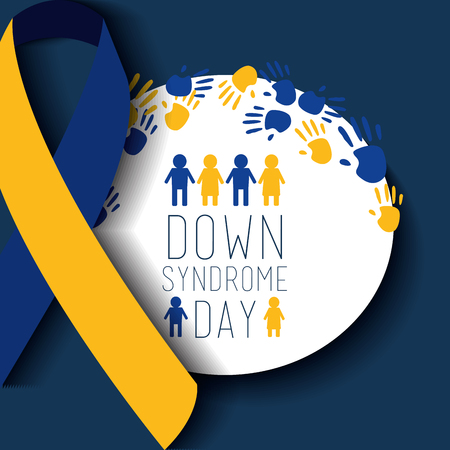 down syndrome day badge people painted hands ribbon celebration vector illustration Stock Illustratie