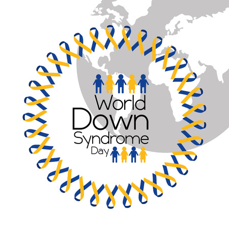 world down syndrome day globe people awareness symbol vector illustration