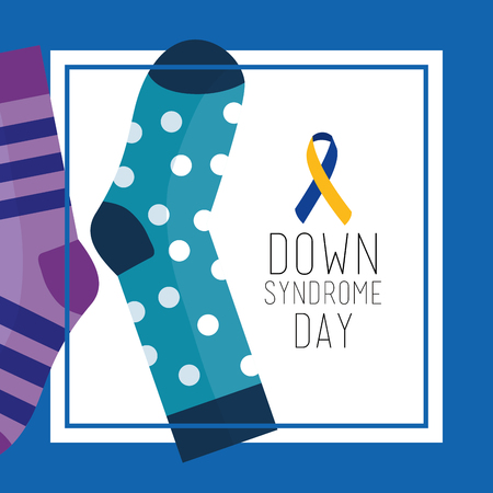 Down syndrome day greeting card dotted and striped socks vector illustration Illustration