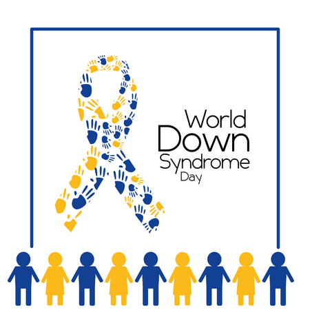 world down syndrome day people and ribbon made painted hands vector illustration
