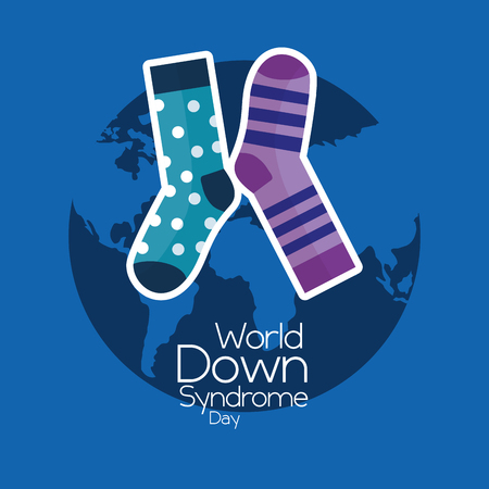 World down syndrome day invitation awareness symbol card vector illustration.