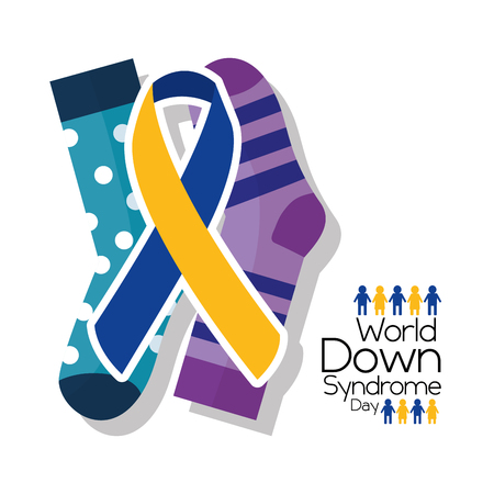 World down syndrome day card invitation event campaign vector illustration. Ilustração